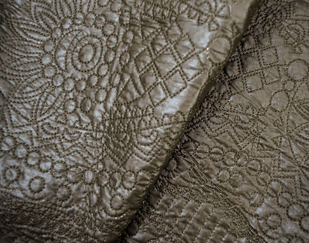 Утепленная искусственная кожа с вышивкой арт. 2175322, фото 3