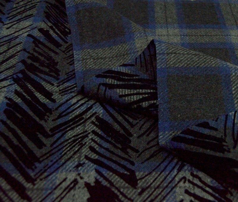 Костюмная ткань в клетку с флоковым напылением арт. 230574812, фото 1