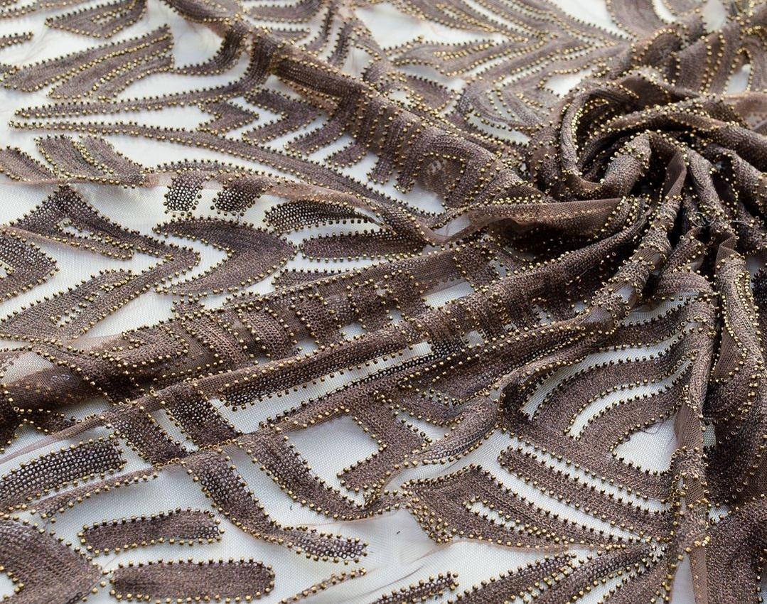 Эффектная вышивка на сетке пайетками и бисером арт. 230917442, фото 1