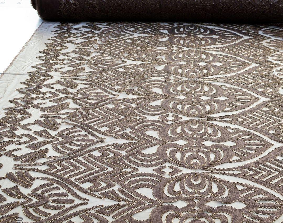 Эффектная вышивка на сетке пайетками и бисером арт. 230917442, фото 2